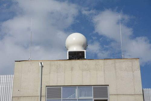 Radome of weather radar in Aachen on top of a building