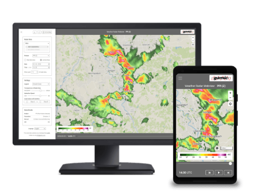 Webview application for radar data on desktop and mobile devices